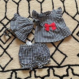 NWOT Carter's Blue Checkered Red Bow 3-Piece Set